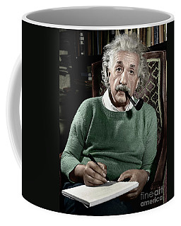 Coffee Mug featuring the photograph Albert Einstein by Granger
