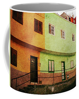 Coffee Mug featuring the photograph Alcala Orange Green Red Houses by Anne Kotan