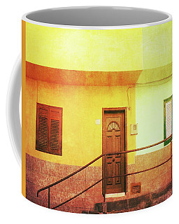 Coffee Mug featuring the photograph Alcala Yellow Green Houses by Anne Kotan