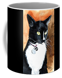 Coffee Mug featuring the painting Alert Tuxedo Cat Portrait by Dora Hathazi Mendes