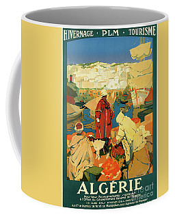 Coffee Mug featuring the mixed media Algeria Vintage Travel Poster Restored by Carsten Reisinger