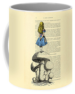 Alice In Wonderland Standing On Giant Mushroom Coffee Mug