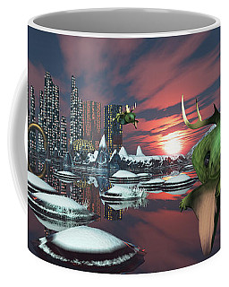 Coffee Mug featuring the digital art Alien Planet by Mary Almond