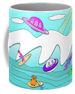 Aliens Go Surfing  Coffee Mug