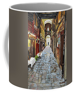 Coffee Mug featuring the painting Alley On Parangon In Venice by Jan Dappen