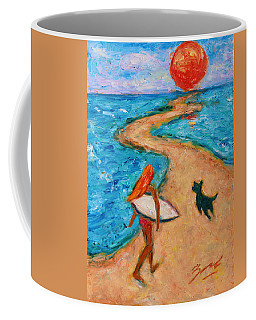 Coffee Mug featuring the painting Aloha Surfer by Xueling Zou