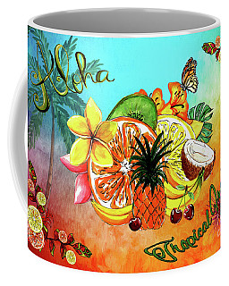 Coffee Mug featuring the digital art Aloha Tropical Fruits By Kaye Menner by Kaye Menner