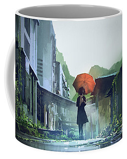 Alone In The Abandoned Town Coffee Mug