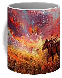 Alone In The Range - Horse At Sunset Coffee Mug