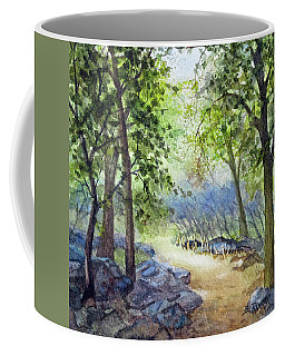 Coffee Mug featuring the painting Along The Path by Bonnie Rinier