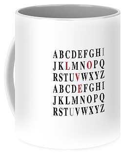Coffee Mug featuring the digital art Alphabet I Love U by Nancy Ingersoll