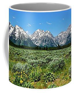 Coffee Mug featuring the photograph Alpine Meadow Teton Panorama II by Greg Norrell