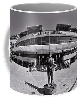 Coffee Mug featuring the photograph Amalie Arena Black And White by Lisa Wooten