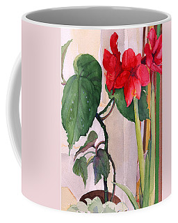 Amaryllis And Begonia Coffee Mug by Nancy Watson