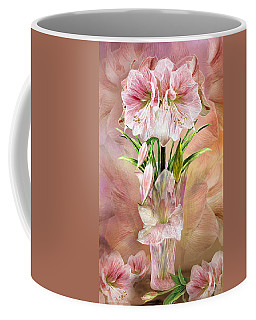 Coffee Mug featuring the mixed media Amaryllis In Amaryllis Vase by Carol Cavalaris
