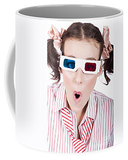 Amazed Woman Watching 3d Movie In Glasses Coffee Mug