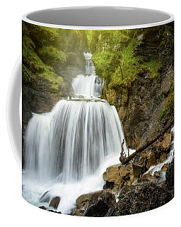 Amazing Mountain Waterfall Near Farchant Village At Garmisch Partenkirchen, Farchant, Bavaria, Germany. Coffee Mug