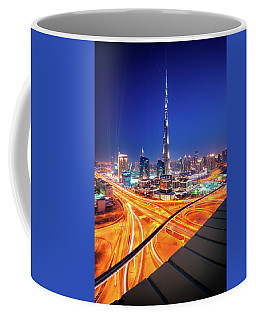 Amazing Night Dubai Downtown Skyline, Dubai, United Arab Emirates Coffee Mug