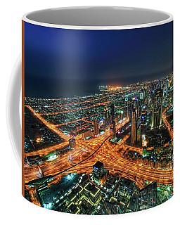 Amazing Night Skyscrapers At The Sheikh Zayed Road In Dubai, United Arab Emirates Coffee Mug