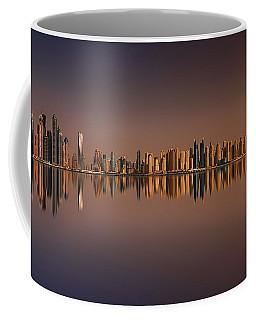 Amazing Sunset Panorama Of Dubai Marina, Dubai, United Arab Emirates Coffee Mug