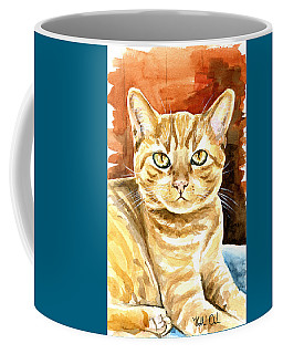 Coffee Mug featuring the painting Amber Eyes - Orange Tabby Cat Painting by Dora Hathazi Mendes
