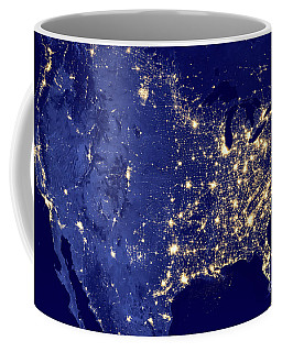 Coffee Mug featuring the photograph America By Night by Delphimages Photo Creations
