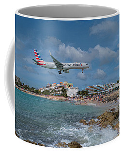 American Airlines Landing At St. Maarten Airport Coffee Mug by David Gleeson