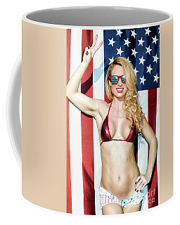 Coffee Mug featuring the photograph American Blond Beauty 8795 by Amyn Nasser
