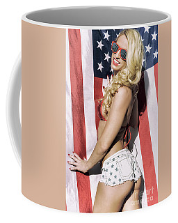 Coffee Mug featuring the photograph American Blonde Beauty 8808 by Amyn Nasser
