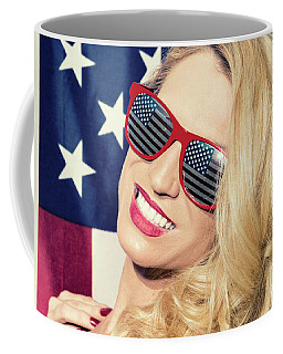 Coffee Mug featuring the photograph American Blonde Beauty 8842 by Amyn Nasser