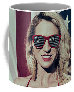 Coffee Mug featuring the photograph American Blonde Beauty 8935 by Amyn Nasser