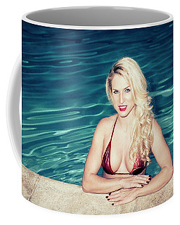 Coffee Mug featuring the photograph American Blonde Beauty 9152 by Amyn Nasser
