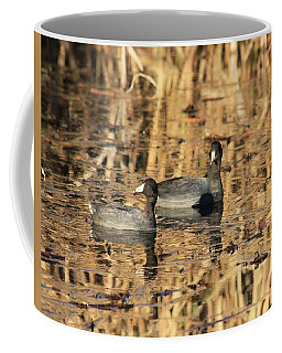 Coffee Mug featuring the photograph American Coots by Jerry Battle