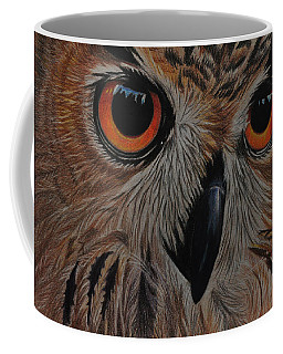 Coffee Mug featuring the drawing American Eagle Owl by Jo Baner