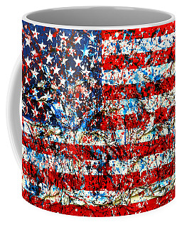 American Flag Abstract With Trees Coffee Mug by Genevieve Esson