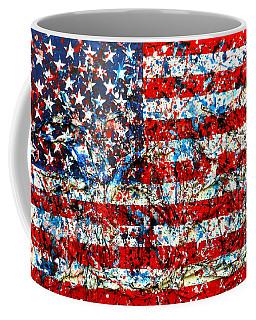 American Flag Abstract With Trees Coffee Mug