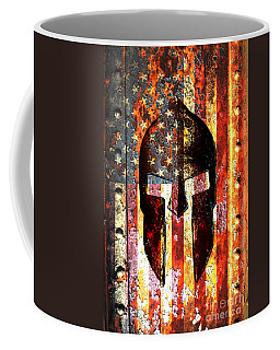 American Flag And Spartan Helmet On Rusted Metal Door - Molon Labe Coffee Mug