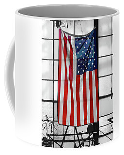 Coffee Mug featuring the photograph American Flag In The Window by Mike McGlothlen