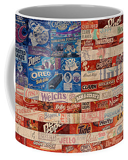 American Flag - Made From Vintage Recycled Pop Culture Usa Paper Product Wrappers Coffee Mug