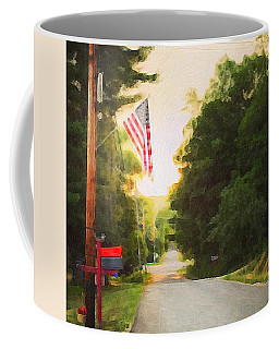 American Flag On A Country Road Coffee Mug