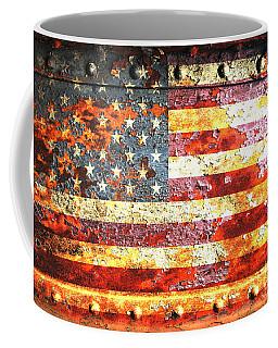 American Flag On Rusted Riveted Metal Door Coffee Mug by M L C