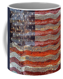 American Flag On Rusty Tin Coffee Mug by Rebecca Korpita