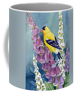 American Goldfinch And Foxgloves Coffee Mug by Janet Zeh