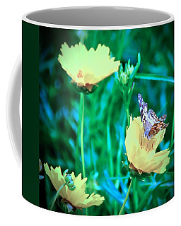 American Lady On Coreopsis Coffee Mug