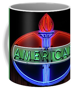 Coffee Mug featuring the photograph American Oil Sign by Sandy Keeton