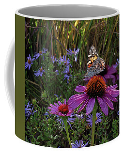 American Painted Lady On Cone Flower Coffee Mug