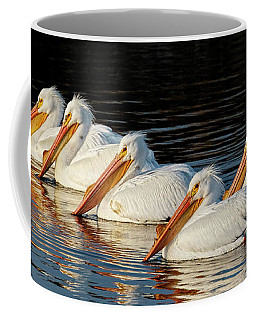 American Pelicans - 01 Coffee Mug by Rob Graham
