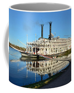 American Queen Steamboat Reflections On The Mississippi River Coffee Mug by David Lawson