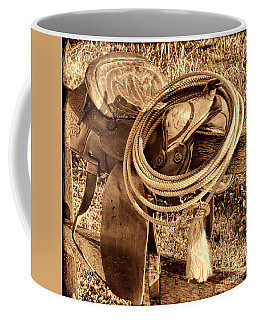 American West Legend Rodeo Western Lasso On Saddle Coffee Mug by American West Legend By Olivier Le Queinec