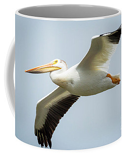 Coffee Mug featuring the photograph  American White Pelican Flyby  by Ricky L Jones
